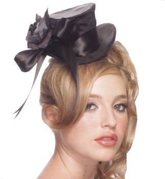 Mini Satin Top Hat - Black