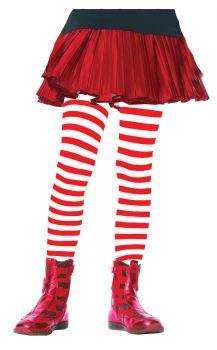 Child Striped Tights - Red/White - Child X-Large