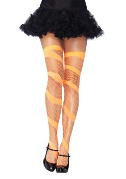 Neon Diamond Net Thigh-Highs - Neon Orange