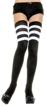 Knit Athletic Striped Thigh-Highs - Black/White