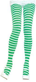 Nylon Striped Tights - White/Green - Adult OSFM