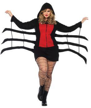 Women's Plus Size Cozy Black Widow Spider Costume - Adult 1X/2X