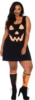 Women's Plus Size Pumpkin Jersey Dress - Adult 1X/2X