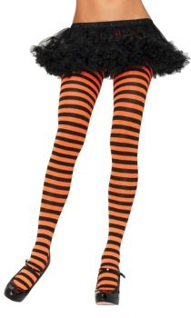 Nylon Striped Tights - Black/Orangege