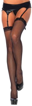 Black Fishnet Stocking With Lace Top - Adult OSFM