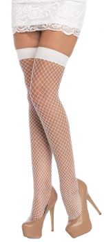 Lycra Fishnet Thigh-Highs - White