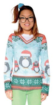 Ladie's Ugly Winter Penguin Sweater Shirt - Adult M (6 - 8)