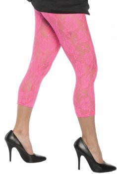 Neon Pink Lace Leggings - Adult - Adult Large