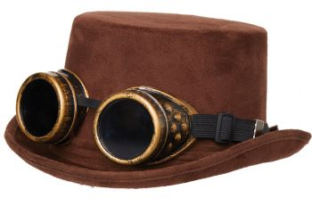 Faux Suede Hat With Goggles - Adult
