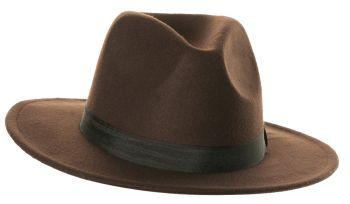 Brown Fedora Hat - Adult