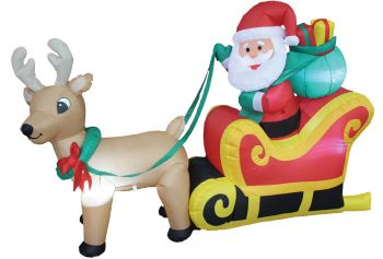 6' Santa On Sleigh Inflatable