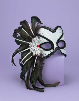 Venetian Couple Mask Wt/bk